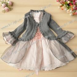 Комплект: нарядное платье для девочки и болеро с тюлем на праздник