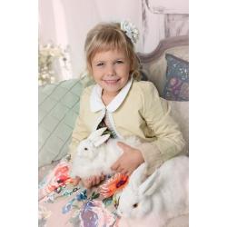 Нарядное хлопковое платье с кружевом, крупными цветами и кожаной курточкой для девочки