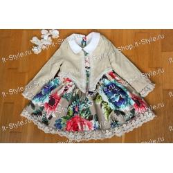 Комплект-нарядное платье для девочек с принтом крупные цветы и светлая мягкая курточка PU